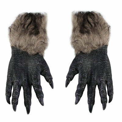 Pair Halloween Werewolf Wolf Paws Claws Cosplay Gloves Creepy Costume Party GK