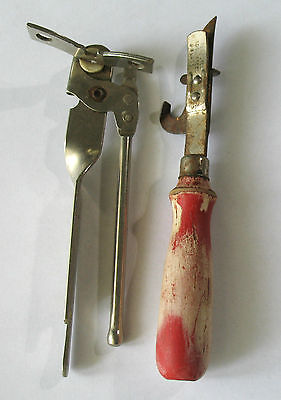 Vintage Set Two Can & Bottle Openers One Miracle / One ACME Wooden Handle