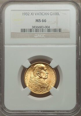 Vatican City 1932 100 Lire Gold Coin, Gem Uncirculated, Certified Ngc Ms-66