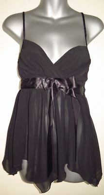 Fredrick's Of Hollywood Nite Gown  Chemise Baby Doll Satin Sash Small