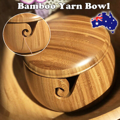 Wooden Bamboo Yarn Bowl Holder With Lid For Yarn Skeins Knitting Crochet Home