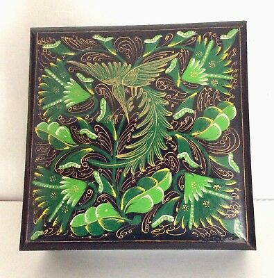 Mexican Lacquer Box Folk Art Tonala Trinket Wood,  Lidded, 1970's, Vintage