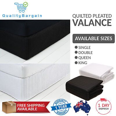 Quilted Valance Bed Skirt Single, Double, Queen, King Sizes Black, White Bedding