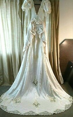 Vintage Long Wedding Appliqued Satin Gown with Train