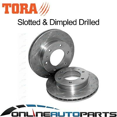 2 Front Dimpled + Slotted Disc Brake Rotors Mazda BT-50 2006-10/2011 Ute