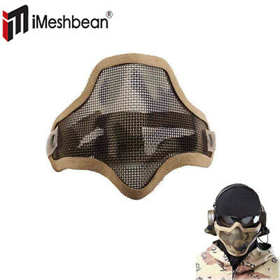 Protective Tactical Airsoft Mask Striker Steel Metal Mesh Half Face Mask Sand