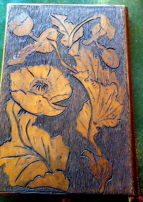 Arts & Crafts Desk Blotter Poker work Poppy Fish 1902 c1900 early 20thC sycamore