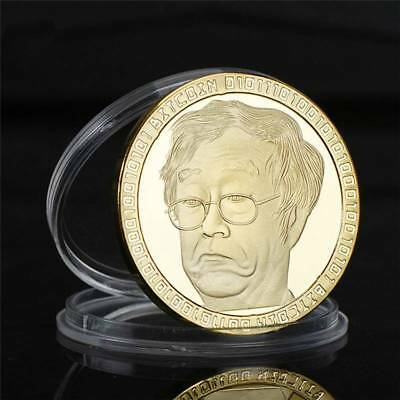 Gold Bitcoin Commemorative Round Collectors Coin Bit Gold/Blue Plated Coins