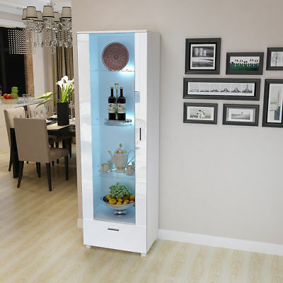Glass Tall Display Cabinet High Gloss with LED Lights White Shelves Wine display