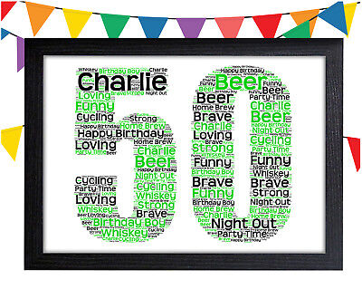 PERSONALISED 50th Birthday Word Art Wall Print Gift Idea 50 Dad Brother Husband