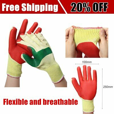Latex Gloves Security Protective Wear Safety Five Fingers Point Red Yellow GU