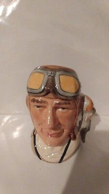 "# Vintage Royal Doulton Character Jug: The Airman D6870 Small 4.5"" 1991-1996"