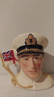 "# Royal Doulton Character Jug: Earl Mountbatten D6851 Small 3.25"" 1990 Ltd 9500"