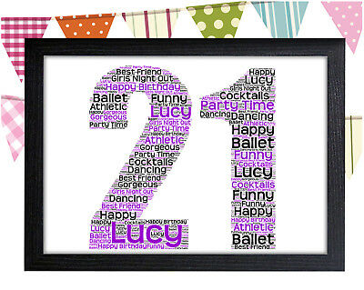 PERSONALISED 21st Birthday Word Art Wall Print Gift Idea 21 Daughter Sister Girl