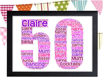 Personalised 50th Birthday Word Art Wall Print Gift Idea 50 Mum Wife Sister Nan 30th 40th