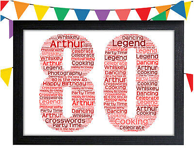 PERSONALISED 80th Birthday Word Art Wall Print Gift Idea 80 Dad Grandad Uncle