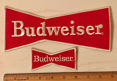 Set of Two Budweiser Beer Large & Small Bow Tie Patches Embroidered 8-5/8""