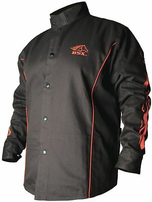 BSX Black/Red 100% 9 oz. Flame-Resistant Cotton Welding Jacket, Size: L, 32""