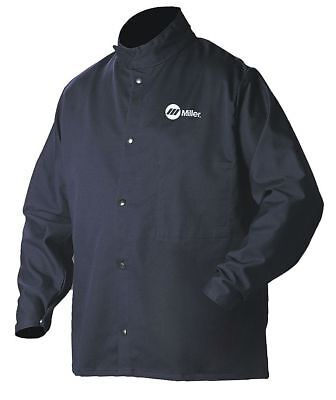 Miller Electric Royal/Navy 100% Cotton INDURA Welding Jacket, Size: 2XL, 30""