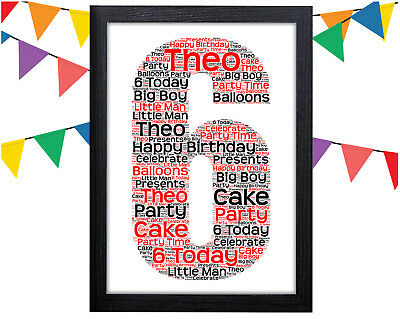 PERSONALISED 6th Birthday Word Art Wall Print Gift Idea Boy Girl Son Daughter
