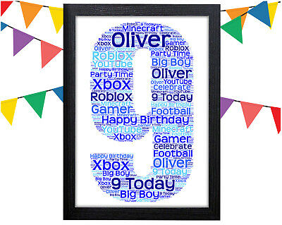 PERSONALISED 9th Birthday Word Art Wall Print Gift Idea Boy Girl Son Daughter