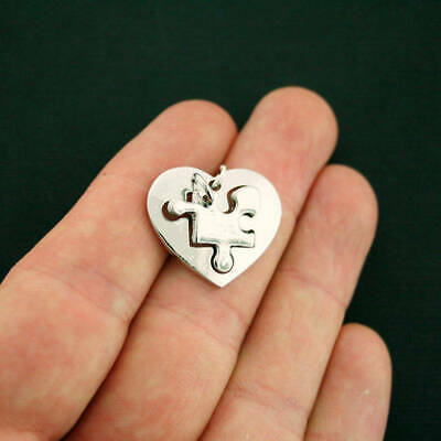 SC7103 4 Heart Puzzle Piece Charms Antique Silver Tone With Attached Jump Ring
