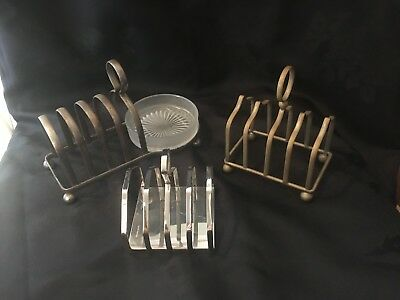 Three Vintage Toast Racks/preserve Dish - Chrome/brass