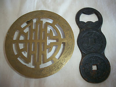 Lot Of 2 Vintage Chinese China Etched Brass Trivet & Cast Iron Bottle Opener