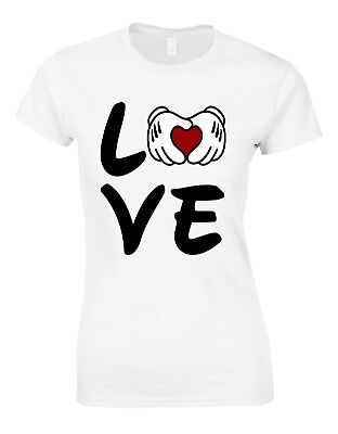 I Heart Cartoon Mickey Mouse Hands JERZEES T-shirt THE BEST SM To 5XL