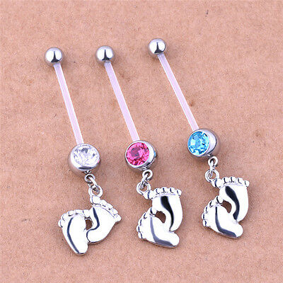 Flexible Pregnancy Maternity Baby Feet Boy Girl Belly Bar Navel Ring Piercing GV