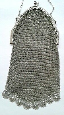 Ladies Vintage Antique Silver Plated Chain Mail Purse. Evening. Flapper Style.