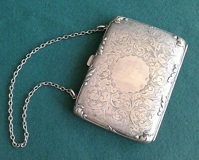 Antique Victorian Engraved Lady's Evening Purse. Pre 1890. Nickel Silver Plate