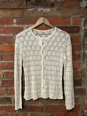VINTAGE CROCHET TOP CARDIGAN CREAM HIPPY BOHO INTRICATE (ct51) SIZE 6