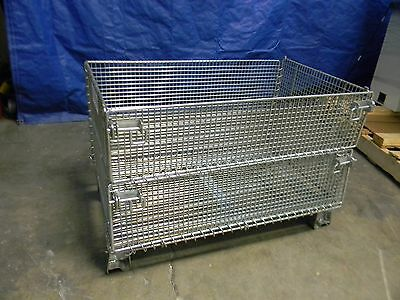 """Professional Welded Steel Wire Folding Container 20"""" x 32"""" x 16"""" 1000 lbs cap"""