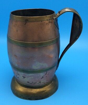 Vtg Copper & Brass Beer Stein Tankard Alois Aufrichtig Maker St Louis Antique