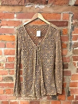 Vintage Crochet Tie-Front Top Cardigan Light Brown Hippy Boho (Ct53) Size 10-12