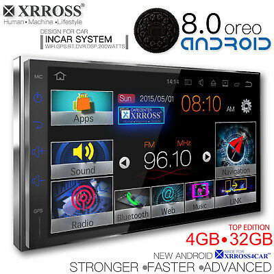 XRROSS Android 8.0 Car audio player auto radio  GPS Wifi BT Double Din 4GB+32GB
