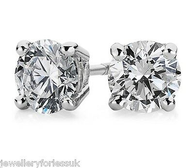 854b32139 18Carat White Gold Diamond 4-Claw Solitaire 1.45 Carats Pair Ear Studs  Certified
