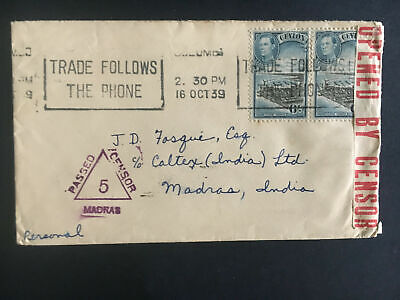 1939 Ceylon Censored Cover to Madras India