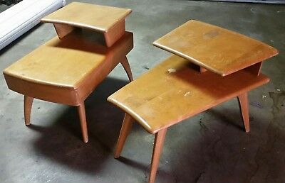 2 Heywood Wakefield 1950s mid-century modern mismatched end tables nightstands