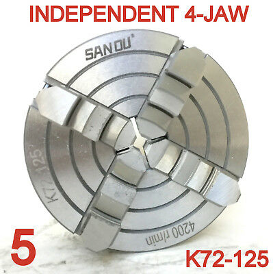 """1 pc Lathe Chuck 5"""" 4-Jaw Independent and Reversible Jaw K72-125 sct-888"""
