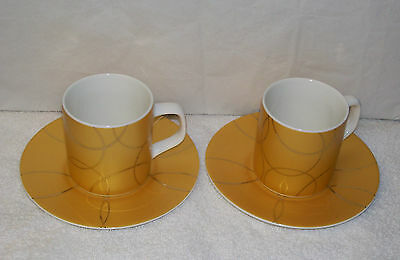 1 Pair of Limited Edition by NESCAFE Espresso Mugs and Saucers Yellow Gold White