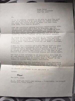 Queen Mother of Nashville Mae Boren Axton Letter Discussing Hank Snow Mgmt.