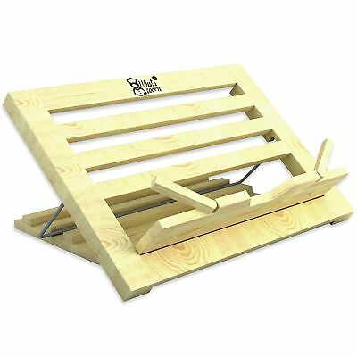 Book Stand | Recipe Holder Large Wood | 3 Position Adjustable Height and Port...