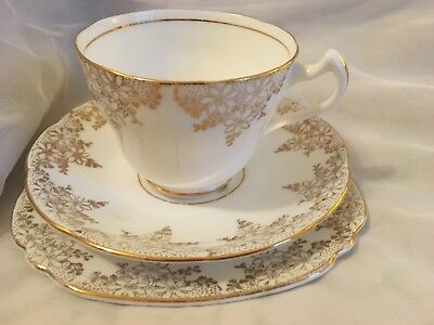 Balfour Royal Crown Bone China Trio - Cup Saucer & Tea Plate - White and Gold
