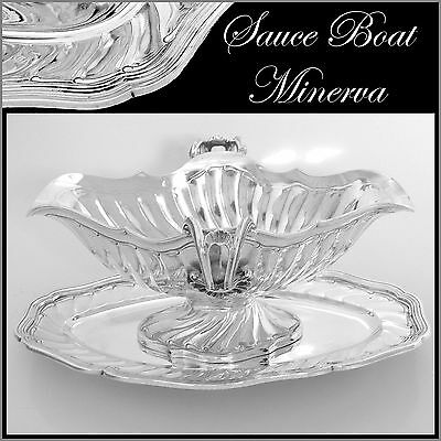 Top Quality Antique French Sterling Silver Gravy/Sauce Boat with Tray Rococo