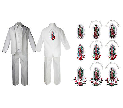 Baby Boy Christening Formal White Paisley Suit Silver Guadalupe on Back SM-20