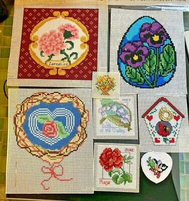 Finished Cross Stitch Pieces:  FLOWERS and BIRDS