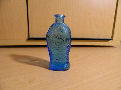 "Miniature bottle vintage blue Glass 3"" Taiwan Fisch's Bitters Fish Shaped"