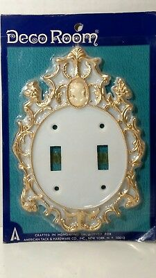 Vintage Double Light Switch Plate Cover NOS Shabby Chic Victorian Antique SR-1